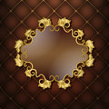 Gold frame with floral pattern on a brown background quilting Stock Images