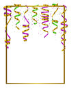 Gold frame with green, yellow and violet serpentine, ribbon and dust confetti isolated on white black background