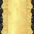 Gold frame with old paper and stars golden curly waves spotty vector eps Stock Photography