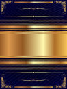 Gold frame with pattern a dark and plant elements Stock Image