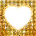 Gold frame in the shape of heart. EPS 8 Royalty Free Stock Image