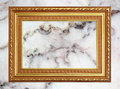Gold frame Vintage photo frame on marble stone wall background Royalty Free Stock Photo