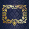 Gold frame wall blue wallpaper Stock Images