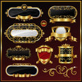 Gold framed labels Royalty Free Stock Photo