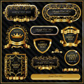 Gold framed labels Royalty Free Stock Photos