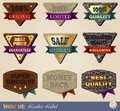 Gold-framed labels Stock Photos