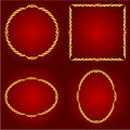 Gold frames on the Red background vector Royalty Free Stock Photo
