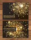 Gold Gift Business card template with abstract pattern, glitter dust, sparkling, twinkling stars. Cosmic atmosphere background, un Royalty Free Stock Photo