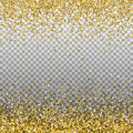 Gold glitter background. Golden sparkles on border. Template for holiday designs, invitation, party, birthday, wedding, New Year, Royalty Free Stock Photo