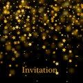 Gold glitter background with sparkle shine light confetti. Vector glittering black background.