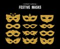 Gold glitter carnival mask set for party event