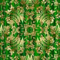 Gold glitter floral seamless pattern. Vector glittery plants background. Shiny golden glowing leaves. Tropic fern leaves, branches