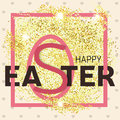 Gold glitter Happy Easter greeting card. Vector illustration.