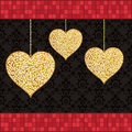 Gold glitter hearts Royalty Free Stock Photos