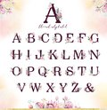 Gold glitter letter alphabet. Isolated Golden alphabetic fonts and numbers on white background. Floral wedding font text