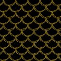 Gold glitter mermaid tail seamless pattern Royalty Free Stock Photo