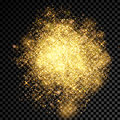 Gold glitter powder shining sparkles burst on vector transparent background