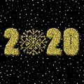 Gold glitter snowflake bright background New Year 2020. eps 10
