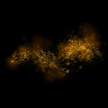 Gold glittering star light and bokeh.Magic dust abstract backgro