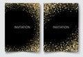 Gold glitters on a black background.Colored confetti design invitation Vector eps10