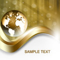 Gold globe background with curve lines and dots Royalty Free Stock Photo