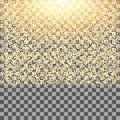 Gold glow glitter sparkles on transparent background.Falling dust.