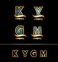 Gold golden letter logo icon set Royalty Free Stock Photo