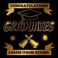 Gold graduate banner with shine elements Royalty Free Stock Photo