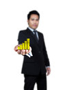 Gold graphs on the hands of businessmen Stock Photography