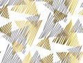Gold and gray geometric luxury seamless pattern with sketch elem