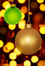 Gold and Green Christmas Ornaments Holiday Lights Royalty Free Stock Photo