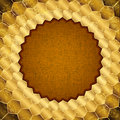 Gold grungy frame in the form of honeycombs Royalty Free Stock Photography
