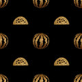 Gold hand painted watermelon seamless pattern.