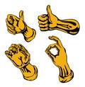 Gold hands retro style Стоковые Фото