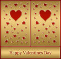 Gold happy Valentines card Stock Photos