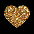 Gold heart glittering isolated on black background. Golden icon silhouette. Vector illustration for Valentine s Day. Love concept. Royalty Free Stock Photo