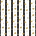 Gold heart seamless pattern. Black-white geometric stripes, golden confetti-hearts. Symbol of love, Valentine day