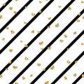 Gold heart seamless pattern. Black-white geometric stripes, golden confetti-hearts. Symbol of love, Valentine day Royalty Free Stock Photo