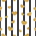 Gold heart seamless pattern. Black-white geometric stripes, golden confetti-hearts. Symbol of love, Valentine day Royalty Free Stock Photo