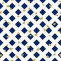 Gold heart seamless pattern. Blue-white geometric decoration, golden confetti-hearts. Symbol of love, Valentine day Royalty Free Stock Photo