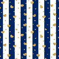 Gold heart seamless pattern. Blue-white geometric stripes, golden confetti-hearts. Symbol of love, Valentine day holiday Royalty Free Stock Photo