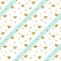 Gold heart seamless pattern. Blue-white geometric stripes, golden confetti-hearts. Symbol of love, Valentine day holiday