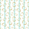 Gold heart seamless pattern. Blue-white geometric stripes, golden grunge confetti-hearts. Symbol of love, Valentine day Royalty Free Stock Photo