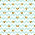 Gold heart seamless pattern. Blue-white geometric zig zag, golden confetti-hearts. Symbol of love, Valentine day holiday Royalty Free Stock Photo