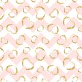 Gold heart seamless pattern. Pink-white geometric zig zag, golden grunge confetti-hearts. Symbol of love, Valentine day Royalty Free Stock Photo