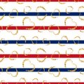 Gold heart seamless pattern. Red-blue-white geometric stripes, golden grunge confetti-hearts. Symbol love, Valentine day Royalty Free Stock Photo
