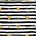 Gold hearts seamless pattern, hand-drawn black stripes brush and ink Royalty Free Stock Photo