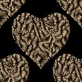 Gold hearts seamless vector pattern. Shiny golden and black Valentines day background. Doodle  ornament. Texture of  foil. Royalty Free Stock Photo