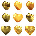 Gold hearts set for wedding design on a white background Royalty Free Stock Images