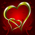 Gold Hearts Valentines Day Background illustration Royalty Free Stock Image